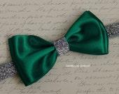 Christmas Emerald satin bow ,Emerald headband,green headband ,satin headband,silver headband