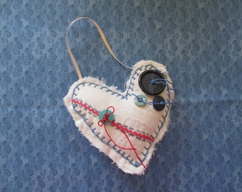 Handmade Heart Red, White, Blue Vintage Materials  Up-cycled, Re-purposed Ornament Decor Ornie  Americana, Patriotic, 4th of July