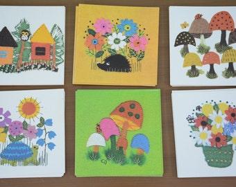 36 Piece Lot Vintage Cute Patchwork Folk Blank Greeting Cards