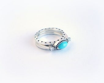TURQUOISE & DIAMOND Engagement Ring. Engagement Ring by AnnKat Designs
