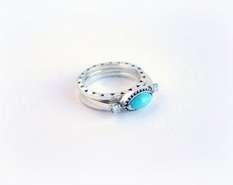 Turquoise & Diamond Engagement Ring, Wedding Band Set