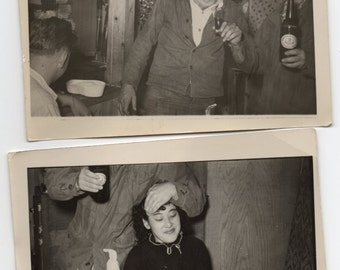 Tavern Party People Drinking Alcohol 2 Vintage Bar Photographs Paper Ephemera Liquor Memorabilia
