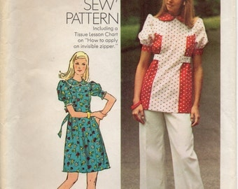 Short Dress Or Top With Shaped Yoke High Round Neckline Collar Tie Ends And Pants Size 14 Sewing Pattern 1973 Simplicity 6102
