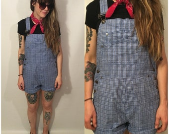 Vintage 90s Blue and White Plaid Overalls Shorts Size Medium