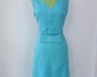 60's Mod Two Tone Linen Shift Bow Dress Belted Aqua Celery With Amazing Design Details S