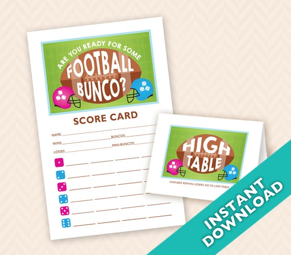Kinder Garden: Are You Ready For Some Football Bunco Scorecard And Table Card