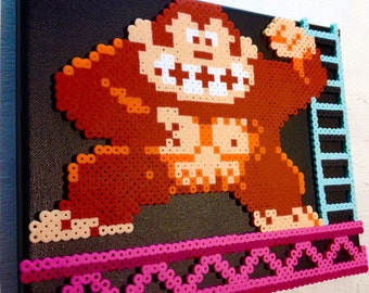 Donkey Kong Retro Gaming Art. Perler Bead 8 bit Pixel Art on Canvas.