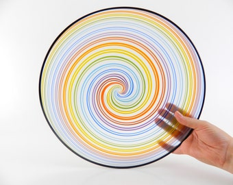 Rainbow Blown Glass Platter