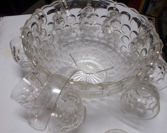 Jubilee Punch Bowl Set Federal Glass 13 Pc Lot Mid Century Party Drinkware Punch Set Thumbprint Cups Bowl Ladle