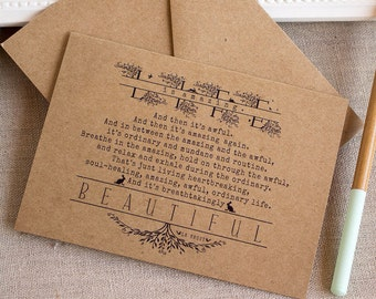 Handmade Single Greeting Card  A2 Life Is Amazing Kraft Envelope birds bunnies typography
