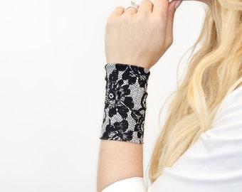 Fabric Lace Cuff Bracelet, Stretch Cuffs, Boho Black White Lace Wrist Cuff, Wrist Tattoo Cover Up Tattoo Covers, Wristband Arm Band Armband