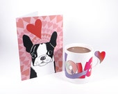 Boston Terrier Valentine - boston terrier greeting card - valentines day card - 5 x 7 card - dog with hearts card - boston terrier love card