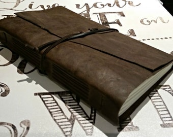 "Large Leather Journal - Dark Brown Journal 6"" x 9"" by The Orange Windmill"