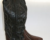 Size 8 Tony Lama Cowgirl Boots Vintage Black Leather with Lizard Thieves Market Boots