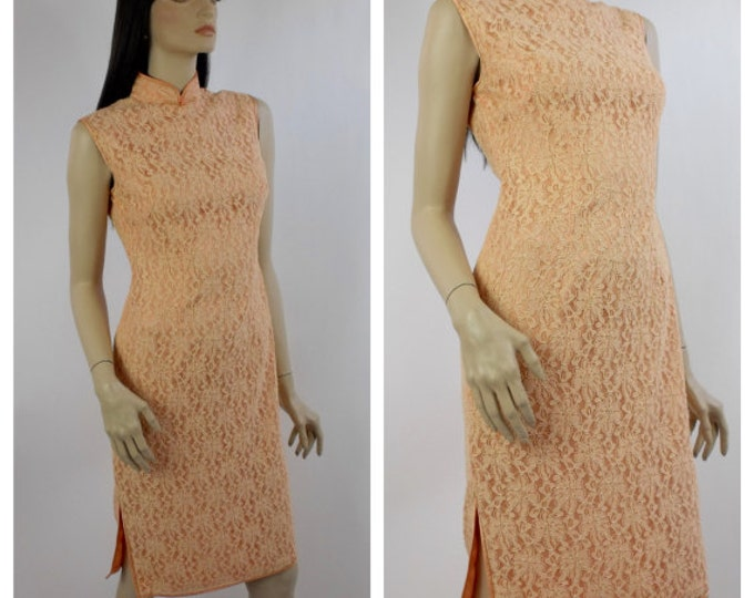 1970's Peach Lace Chinese Cheongsam Dress // Vintage Suzy Wong Dress // Asian Style Chantilly Lace Dress // Peach Cocktail Dress // Size 6
