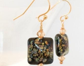Black Glass Earrings - Black Lampwork Earrings - Black Raku Earrings - Black Gold Earrings - Square Black Earrings - Black Crystal Earrings