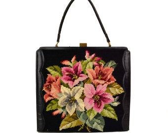 Vintage Black Floral Tapestry Needlepoint Handbag // Large 1960's Kelly Tote Purse // Pink, Red, Hellebore Lilly Flowers // Made in Belgium
