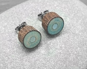 Light Blue Wood Slice Stud Earrings - Bark Earrings - Hardwood Faux Plug Fake Gauge Post Earrings with Surgical Steel posts