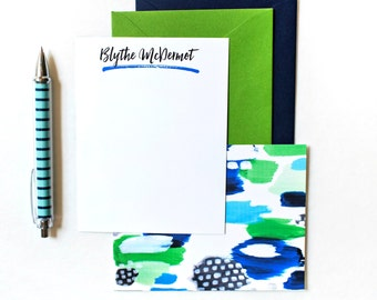 Custom Note Cards Blue Green Polka Dot Monogram Stationary Personalized Note