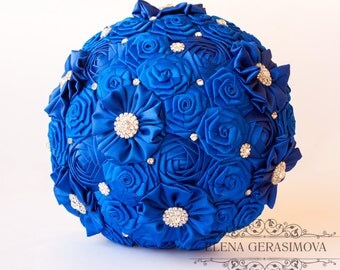Brooch Bouquet. Blue Fabric Bouquet, Unique Wedding Bridal Bouquet
