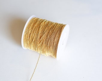 330ft Gold 2.4mm Ball Chain - Spool  - 100m - Ships IMMEDIATELY from California - CH702