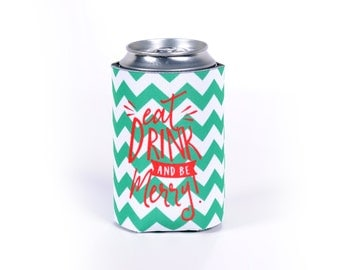 Christmas Can Cooler - Eat Drink and Be Merry Chevron Can Cooler