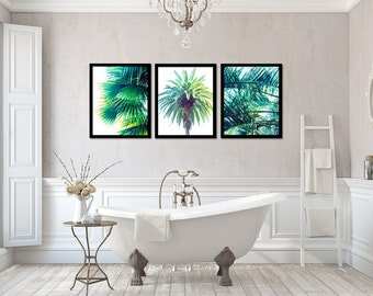 Palm Photo Set of 3 Prints, Green Three Photograph Set, Palm Tree Artwork Collection, Tropical Picture Series, Modern Bathroom Wall Art