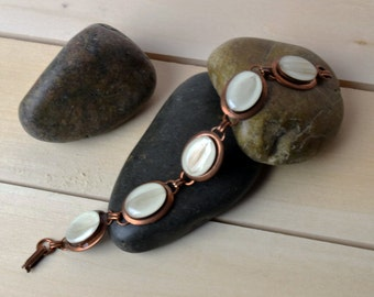 5 Oval Copper Diamond Dove Charm Bracelet