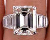 Impressive Art Deco 4.45ct Emerald Cut and Baguette Diamond Engagement Wedding Platinum Ring, EGL USA - VIDEO