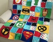 READY TO SHIP - Superhero Quilt / Blanket Bedding - Crib Size