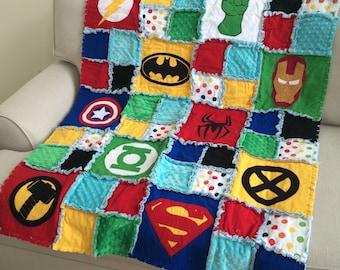 Superhero Quilt / Blanket Bedding - Crib Size