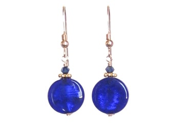 Murano Glass Cobalt Blue Small Dangle Earrings, Gold Filled Leverback Earrings, Venetian Jewelry, Italian Jewelry, Gifts For Her, Clip Ons