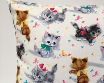 Retro kitten cushion cover cat pillow vintage style cat cushion baby cushion kids cushion kids pillow childrens cushion childrens pillow