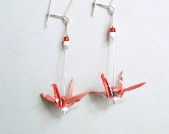 Orange and white Crane Origami earrings