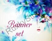 Shop Banner Set shop icon,banner,avatar,custom order,reserved -watercolor,blue,flowers,girl