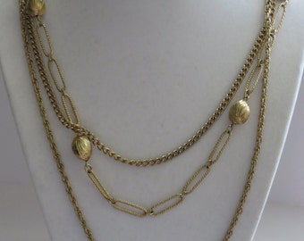 Vintage Gold Tone Three Strands Necklace