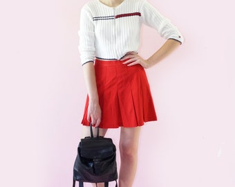 Red 90s Cyber Tennis Skirt, Pleated Vintage Cheer Skirt, 90s Lolita, Club Kid, 90s Athletic, Women's Size Small/Medium