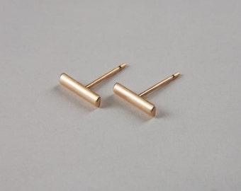14K Gold Bar Earrings 8 mm Solid Gold Earrings Gold Line Earrings Handmade Gold Stud Earrings Luxury Jewelry