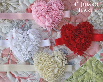 Jumbo Ruffled Rosette Chiffon Heart in the Color of Your Choice - Available on a Headband or Hair Clip - Baby Girl Valentine's Day Headbands