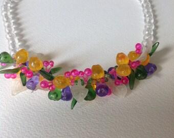 Vintage necklace 70.s plastic fruits cherry apple