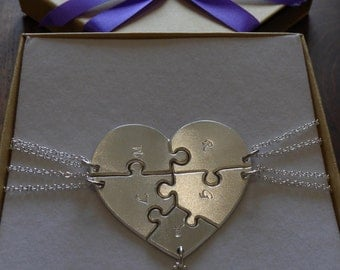Five Piece Heart Jigsaw Puzzle Pendants with initials in a Satin Finish, Font 12
