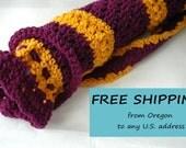 Yoga Mat Bag, Dark Orchid and Gold - Open Crochet Original HH Design