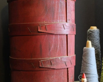 Antique Barn Red Wood Barrel // Wood Bucket // Primitive Decor // Farm House