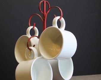 Vintage Red Metal Mug Tree // 4 Midwinter England White Mugs // Retro Kitchen