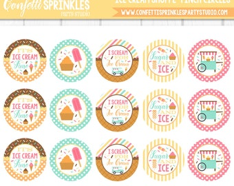 "INSTANT DOWNLOAD ""Ice Cream Shoppe"" 4x6"" 1"" Inch Bottle Cap Image/Digital Collage Sheet"
