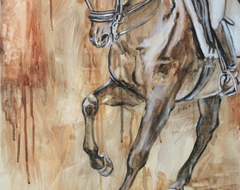 Original Oil Underpainting of Equestrian Sport: Dressage Horse and Rider