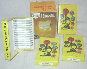 48 Prepared Specimen Microscope Slides Simpsons 1960s Sea Life-Bee & Butterfly-Bacteria-Tiny Creatures