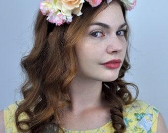 Lucille - Flower Crown Headpiece | Pink Flower Crown | Rose Flower Crown | Flower Headband | Floral Headpiece | Bridesmaid Headband