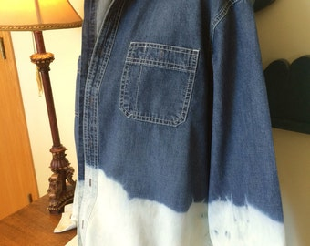 Bleach Dipped Denim Men's Large Button Front Bleached Ombre Denim Shirt Fall Fashion Boyfriend Shirt Distressed Denim Plus Size