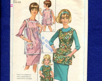 Vintage 1960's Simplicity 6809 Little Girl's Apron & Artist Smock Pattern Size 6/8 GIRLS